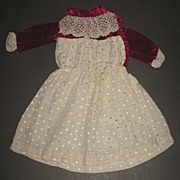 Pretty Antique Doll Dress With Velvet Bodice and lace TLC