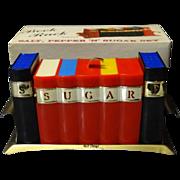 Miniature Book Rack Salt, Pepper 'n' Sugar Set By Davis Original Box