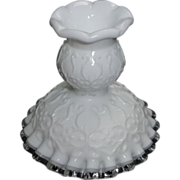Fenton Art Glass Spanish Lace Candlestick Holder with Silver Crest Edge No. 3570