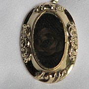 Antique Victorian Mourning Pendant with Knot of Hair