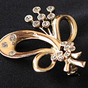 Pretty Ribbon Brooch with Bezel Set Rhinestones