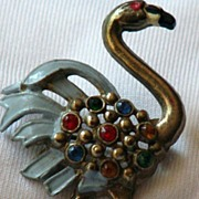 Vintage 1930's Flamingo Brooch/Pin with Rhinestones and Enamel