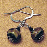 Raku lampwork earrings in deep earth tones