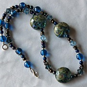 SOLD Raku Waters – Beautiful Blue Lampwork Necklace