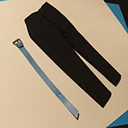 Vintage Mattel Barbie Black Slacks with Blue Belt, 1962/63