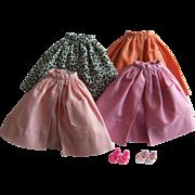 Vintage Barbie Mix & Match Pak Gathered Skirts, Heels, 1962-63