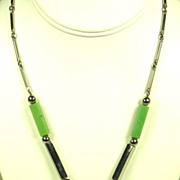 SALE Art Deco Jakob Bengel Chrome and Galalith Necklace