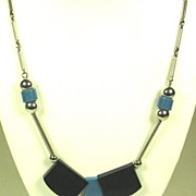 SOLD Blue and Black Galalith and Chrome Jakob Bengel Necklace