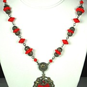 SALE Gold Tone Metal Imitation Pearl and Red Glass Floral Necklace