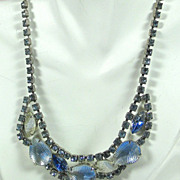 SALE Frosted Light Blue and White Glass Necklace