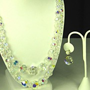 SALE Aurora Borealis Two Strand Crystal Necklace with Imitation Pearl Earrings