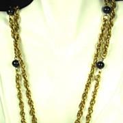 SALE Pauline Rader Gold Tone Metal and Jet Black Glass Necklace