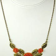 SALE Coral Plastic and Gold Tone Gilt Metal Floral Necklace