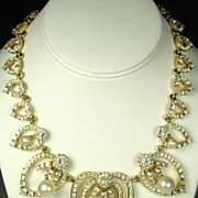 SOLD Ciner Heart Necklace with Rhinestones and Imitation Pearls