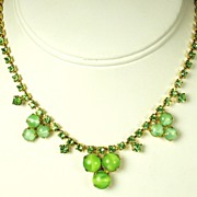 SALE Green Rhinestone and Peridot Glass Cabochon Necklace