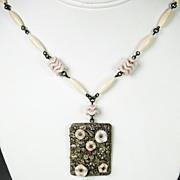 SALE Vintage Light Pink Glass Czech Necklace