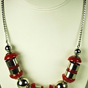 SALE Jakob Bengel Chrome Bead and Galalith Necklace