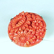 SALE Vintage Coral Colored Glass Floral Pin