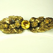 SALE Coro Amber Brilliant Cut Glass Floral Pin