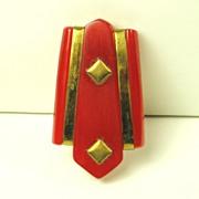 REDUCED Vintage Red Bakelite Dress Clip