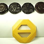 Vintage Yellow Bakelite Buckle and Brown Bakelite Buttons