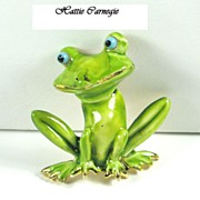 SALE Hattie Carnegie Enamel Frog Bobble Head Trembler Pin