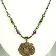SALE Art Nouveau Brass and Glass Bead Lady Necklace