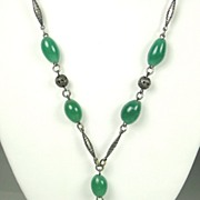 SALE Vintage Filigree Metal and Green Glass Necklace