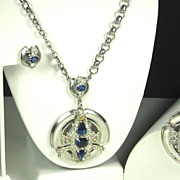 REDUCED Lovely McClelland Barclay Sapphire Colored Gemstone Necklace, Pin, and Earrings Set