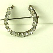 REDUCED Antique Victorian Brass and Rhinestone Horseshoe Pin