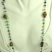 SALE Vintage Millefiori Glass Floral Necklace