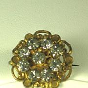 Old Gold Tone Metal and Rhinestone Pin