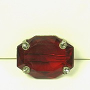 SALE Vintage Red Rectangular Old Mine Cut Glass Stone Pin