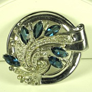 SALE McClelland Barclay Chrome and Sapphire Marquise Cut Glass Pin