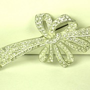 SALE Old Art Deco Rhodium Plated Rhinestone Ribbon Pin