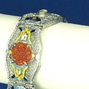 SALE Enamel and Molded Glass with Openwork Filigree H Bracelet