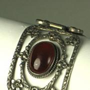 SALE Filigree Metal and Carnelian Cabochon Floral Bracelet