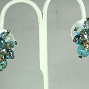 SALE Vendome Aurora Borealis Crystal and Art Glass Bead Earrings
