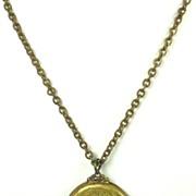 SALE Vintage Ornate White Enamel Cameo Locket Necklace