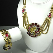 SALE McClelland Barclay Red Glass Necklace and Bracelet