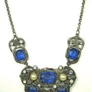 SALE Vintage Pot Metal Oval Gemstone and Imitation Pearl Necklace