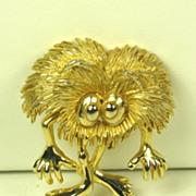 SALE Rare Hattie Carnegie Fuzzy Gold Tone Metal Figural Pin