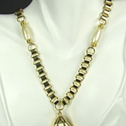 SALE Hattie Carnegie Imitation Pearl and White Enamel Egyptian Revival Necklace