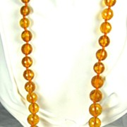 SALE Large Kenneth Jay Lane 1960s Faceted Amber Lucite Bead Necklace