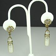 SALE Miriam Haskell Imitation Pearl and Rhinestone Drop Earrings