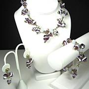 Hattie Carnegie White Swirled Purple Glass Beaded Necklace, Bracelet, and Earrings