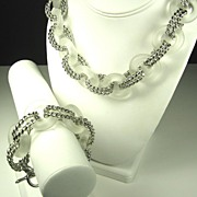 SALE Kenneth Jay Lane Frosted Lucite Ringed Necklace and Bracelet