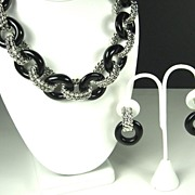 SALE Kenneth Jay Lane Black Lucite Ringed Necklace and Earrings