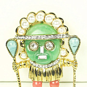 SALE Kenneth Jay Lane Aztec Warrior Pin with Imitation Pearls