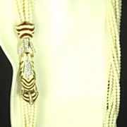 SOLD Ciner Eight Strand Enamel Zebra and Glass Bead Necklace